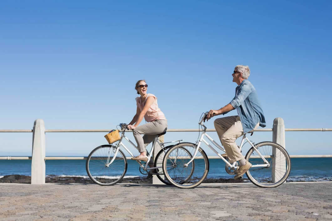 couple enjoying a bicycle ride.