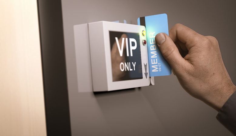 man accessing vip only section